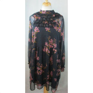 WHO WHAT WEAR Floral Long Sleeve Dress, XS, NEW